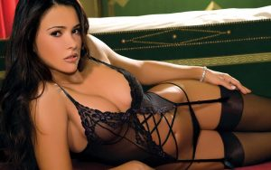 Pretty woman in black lingerie